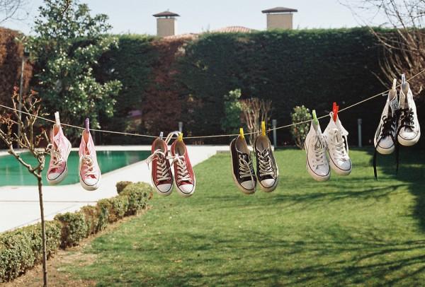 Сушка обуви на бельевой веревке