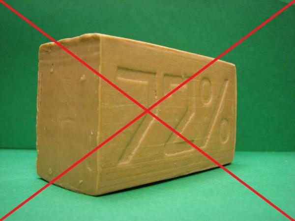 Изображение хозяйственного мыла, перечеркнутое накрест