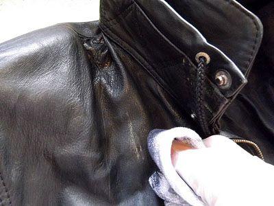 Пятно на кожной куртке